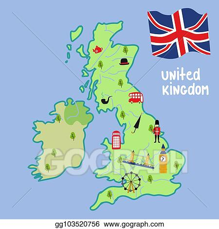 Vector stock vector map of uk england symbols clipart vector map of uk england symbols gumiabroncs