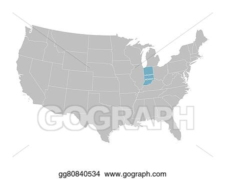 EPS Vector - Vector map of united states with indication of ...