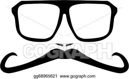 835ebdbf2 EPS Vector - Vector men face with long mustache . Stock Clipart ...