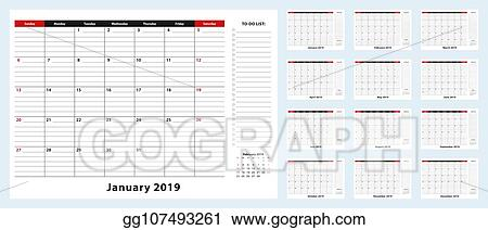 Calendar Planner For January 2019. Week Starts On Monday. Printable..  Royalty Free Cliparts, Vectors, And Stock Illustration. Image 102096075.