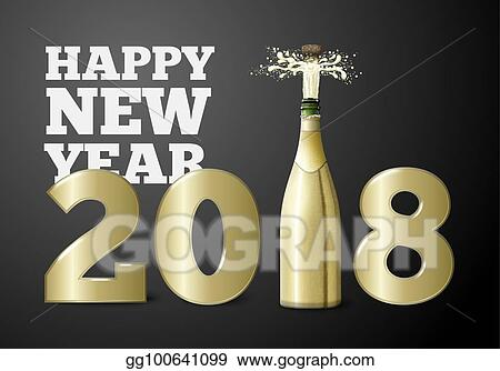 vector new year banner with champagne bottle