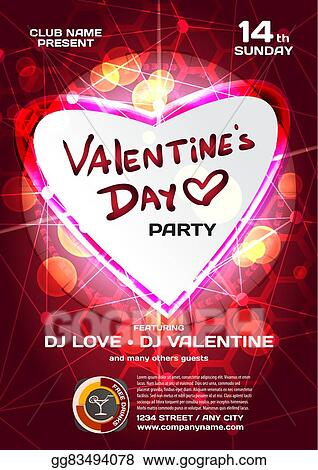 Vector Art Vector Night Party Valentine S Day Techno Template