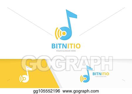Vector Art Vector Note And Wifi Logo Combination Music And Signal