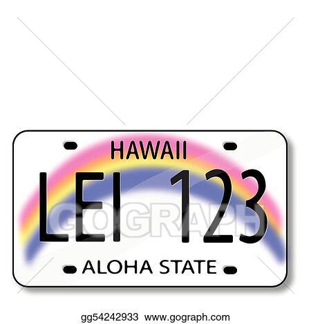 Vector Art - Vector of a hawaiian license plate. Clipart Drawing ...