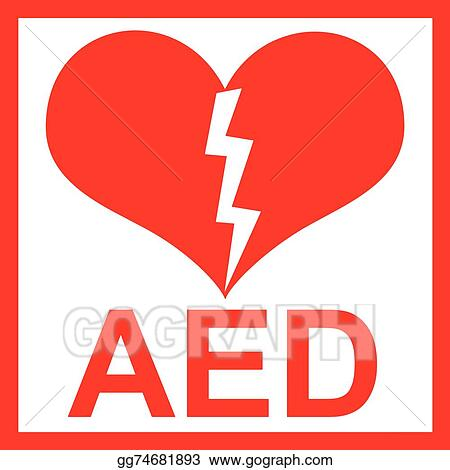 Clip Art Vector Vector Of A Red Aed Sticker Stock Eps Gg74681893