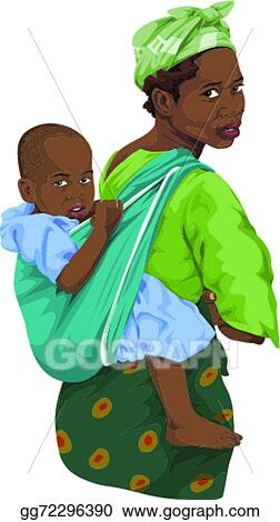 Vector Art - Vector of african woman giving piggyback ride