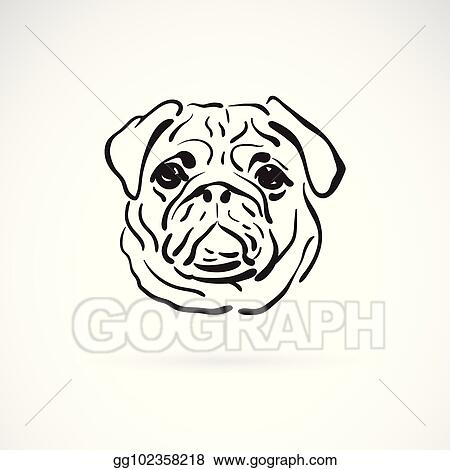 Vector Illustration Vector Of Pug Dog Face On White Background