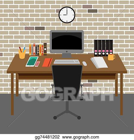 Vector Art - Vector office room.interior,books ,desk,clock,computer ...