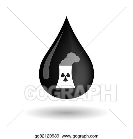 Vector Art - Vector oil drop icon with a nuclear power station  EPS