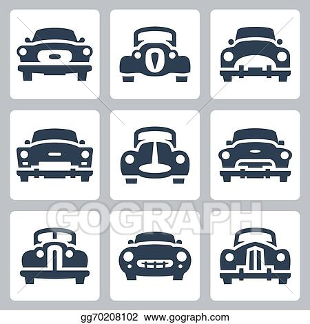 Vector Illustration Vector Old Cars Icons Set Front View Eps