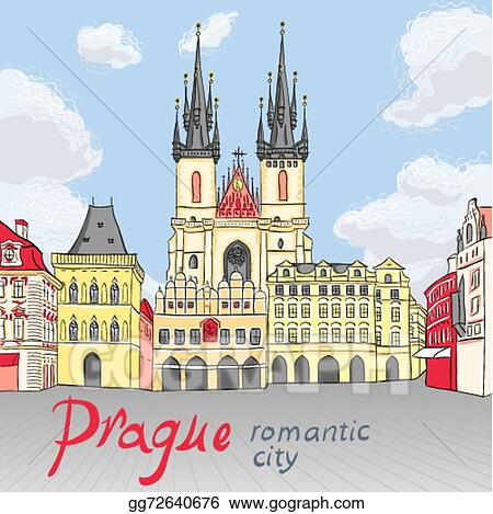 Vector Art Vector Old Town Square In Prague Czech Republic