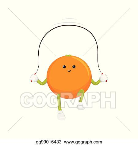 Vector Art Vector Orange Character Jumping Rope Exercise Clipart Drawing Gg99016433 Gograph