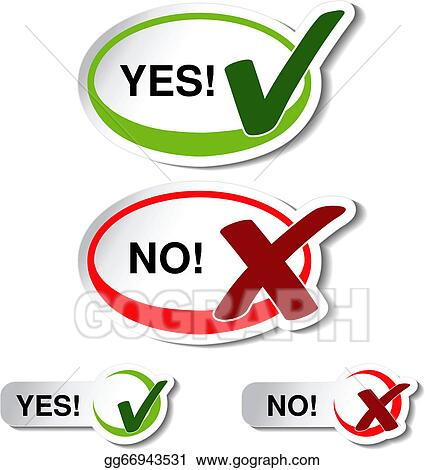 Vector Illustration Vector Oval Yes No Button Check Mark Symbol