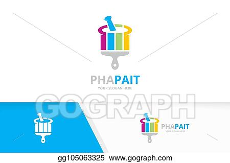 vector stock vector pharmacy and brush logo combination pounder