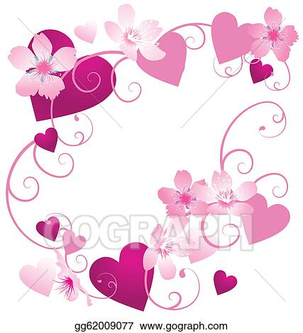 Stock Illustrations Vector Pink And Purple Hearts Frame With