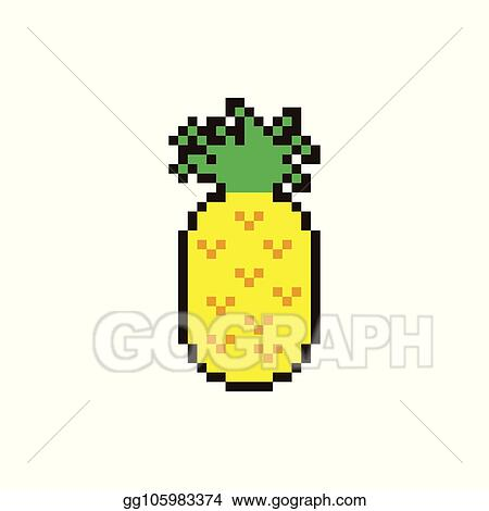 Vector Art Vector Pixel Pinapple Clipart Drawing