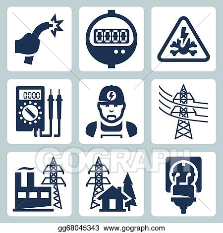 Electric Transmission Line Sign Clip Art - Royalty Free - GoGraph