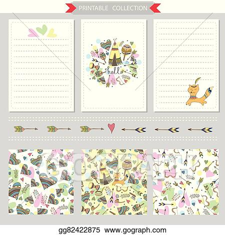 vector illustration vector printable notepad design of cover and