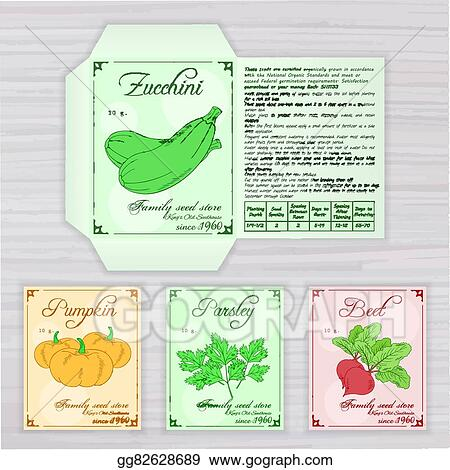 Vector Printable Template Of Seed Packet With Image Name And Description Vegetables On Wooden Backdrop Contains Zucchini Pumpkin Parsley Beet