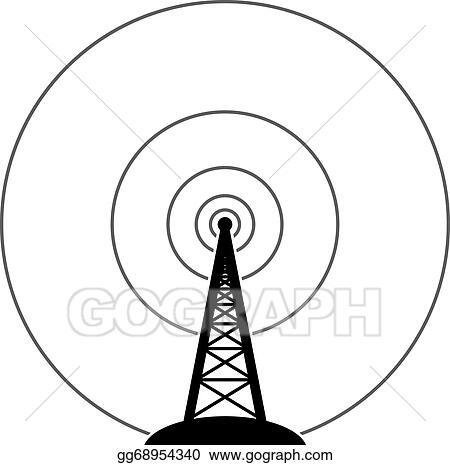 Vector Illustration - Vector radio tower broadcast   EPS