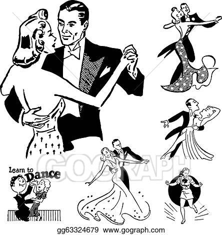 vector stock vector retro ballroom dancing graphics stock clip