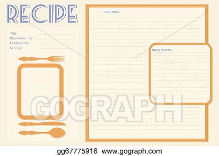 vector stock vector retro recipe card layout clipart illustration