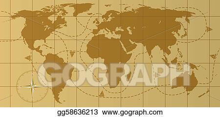 Vector Illustration Vector Retro World Map With Compass Rose Eps