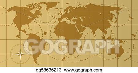 Vector illustration vector retro world map with compass rose eps vector retro world map with compass rose gumiabroncs Gallery