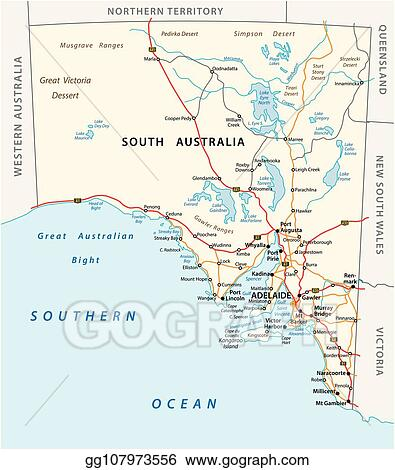Australia Map Vector With States.Eps Vector Vector Road Map Of The State South Australia Stock