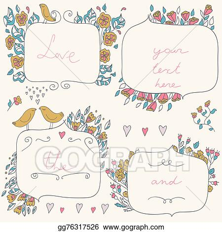 Stock Illustration - Vector romantic set of floral frames, with ...