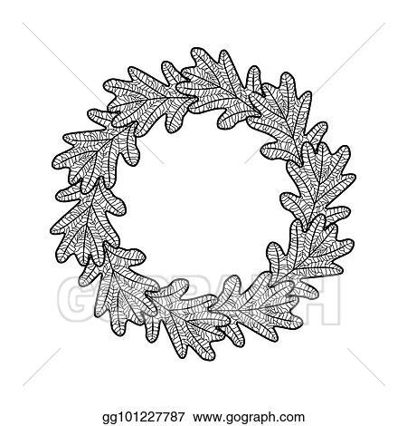 Vector Stock - Vector round frame from black oak leaves on white ...