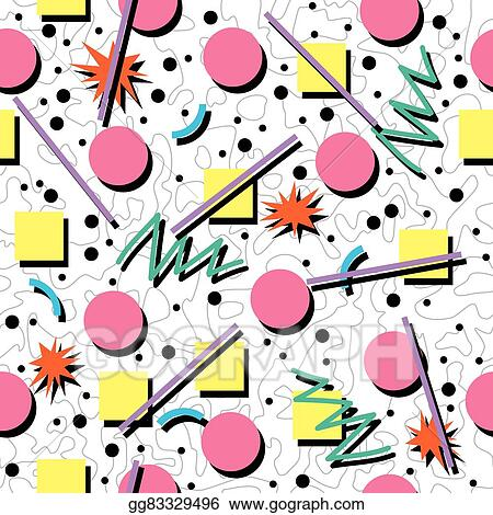 EPS Illustration - Vector seamless 80s or 90s chaotic