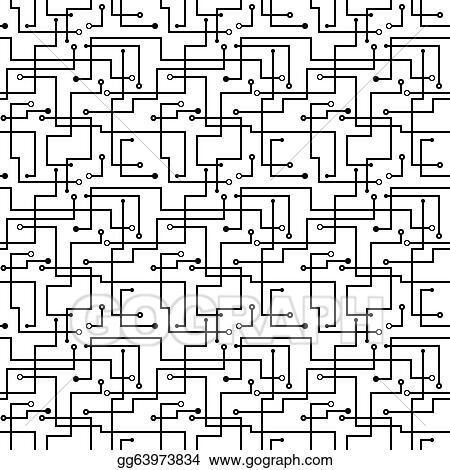 Vector Art - Vector seamless abstract pattern - circuit board scheme ...