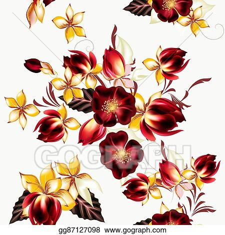Stock Illustrations Vector Seamless Background With Hibiscus