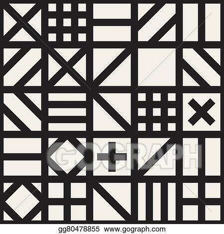 Eps Vector Seamless Black White Geometric Square Irregular Tiling Fachwerk Stile Pattern Background Stock Clipart Ilration Gg80478855