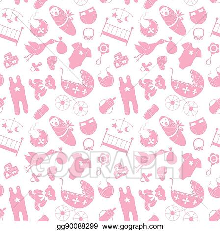 297415c52 Clip Art Vector - Vector seamless pattern with baby elements ...