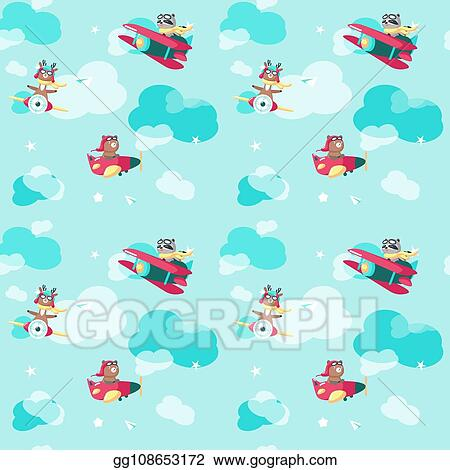 Vector Art Vector Seamless Pattern With Cute Pilot Animals Clipart Drawing Gg108653172 Gograph