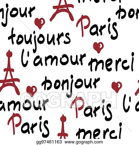 vector stock vector seamless pattern with handwritten french words rh gograph com French People Clip Art French Street Light Clip Art
