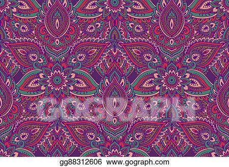 Henna Mehndi Vector : Vector illustration seamless pattern with henna mehndi