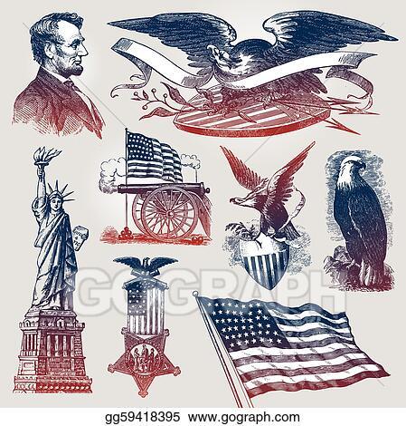 Vector Illustration Vector Set Of American Patriotic Emblems