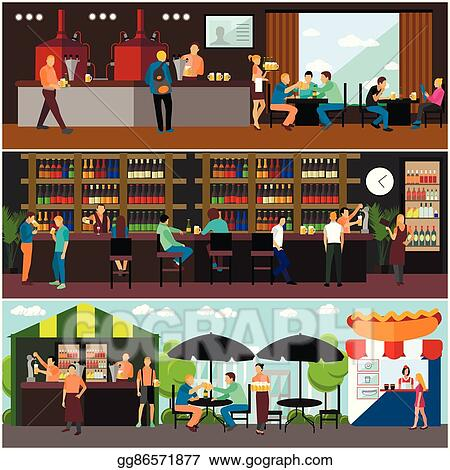 Vector Illustration - Vector set of brewery and beer restaurant