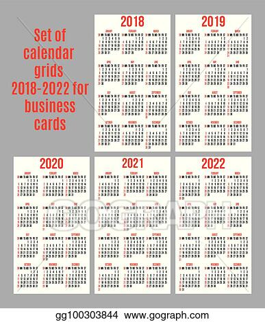 Vector Stock Vector Set Of Calendar Grid For Years 2018 2022 For