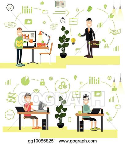 creative furniture icons set flat design. Vector Set Of Creative Team People In Flat Style Furniture Icons Design