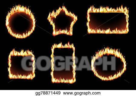 Clip Art Vector - Vector set of fire frames. Stock EPS gg78871449 ...