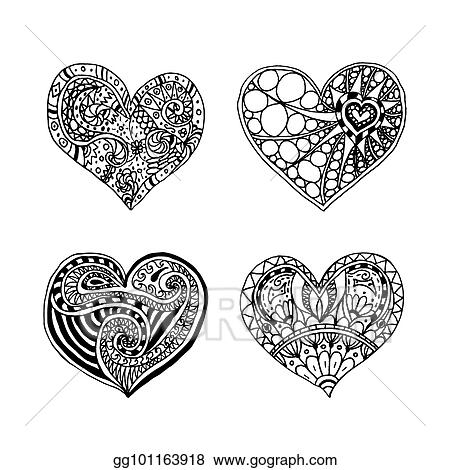 Eps Vector Vector Set Of Four Doodle Hand Drawn Hearts Black And