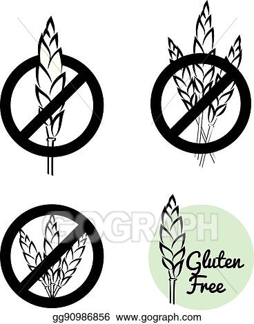 Vector Stock - Vector set of four gluten free symbols with