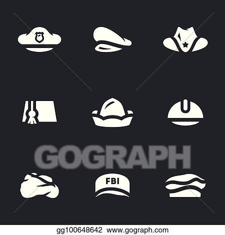 97fe4a62f62 Vector Illustration - Vector set of hats icons. Stock Clip Art ...