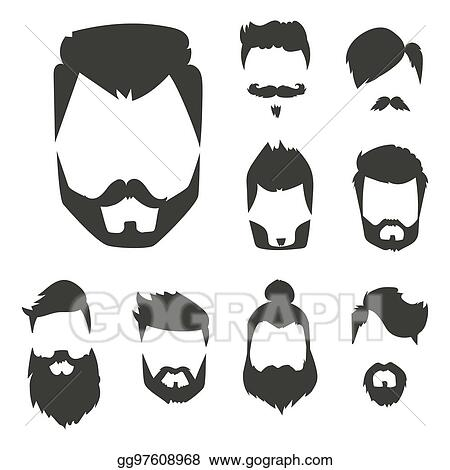 c1ae4d4e0fd Vector set of hipster retro hair style mustache vintage old shave male  facial beard haircut isolated illustration
