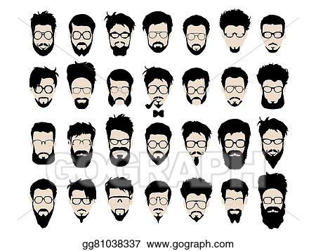 Pleasing Vector Art Vector Set Of Hipster Style Haircut Glasses Beard Natural Hairstyles Runnerswayorg
