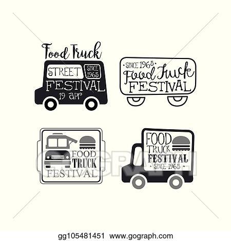 Clip Art Vector Vector Set Of Monochrome Food Truck Festival